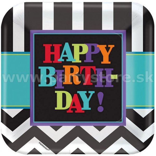 Taniere - Chevron HAPPY BIRTHDAY! - 23 x 23 cm, 8 ks, papier