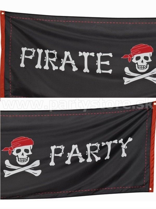 Banner - PIRATE PARTY - 220 x 74 cm, 100% Polyester