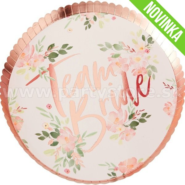 Taniere - TEAM BRIDE FLORAL PARTY - 24 cm, 8 ks, papier