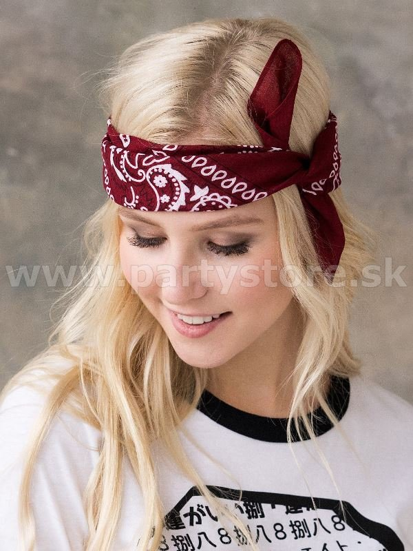 Šatka bandana - ROCK REBEL PAISLEY DESIGN - bordová