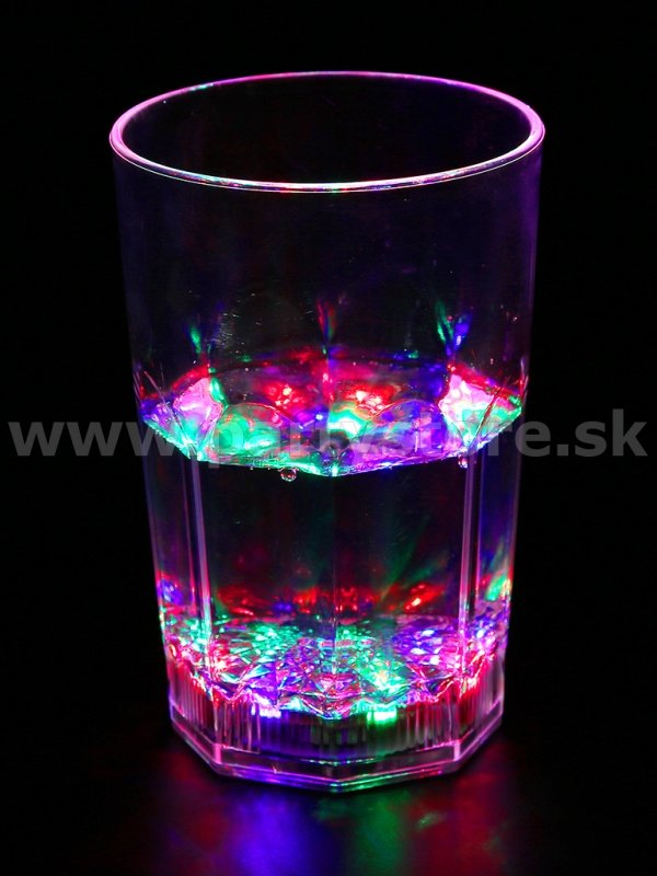 Pohár svietiaci LED - ROCK MULTICOLOR - 355 ml, akryl