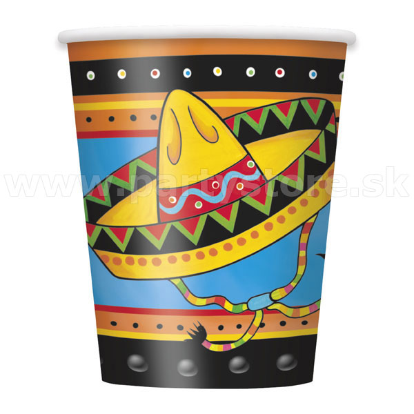 Poháre - WILD WEST MEXICAN FIESTA - 266 ml, bal. 8 ks, papier
