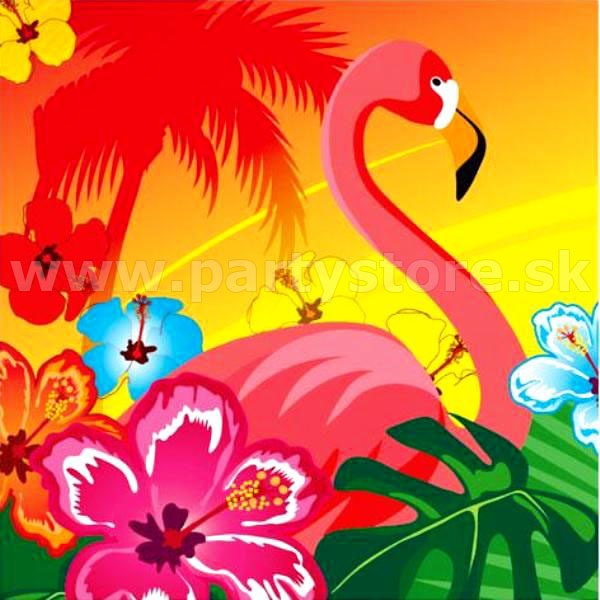 Obrúsky - Hawaiian Flamingo - 33 x 33 cm, bal. 12 ks