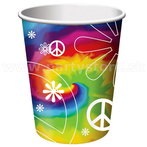 "Poháre "" 60´s Hippie Psychedelic Party "" 266 ml, balenie 8 ks, p"