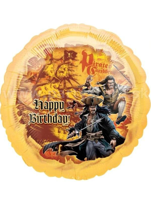 "Balón "" Happy Birthday Pirates of Caribbean "" Ø 46 cm, fóli"