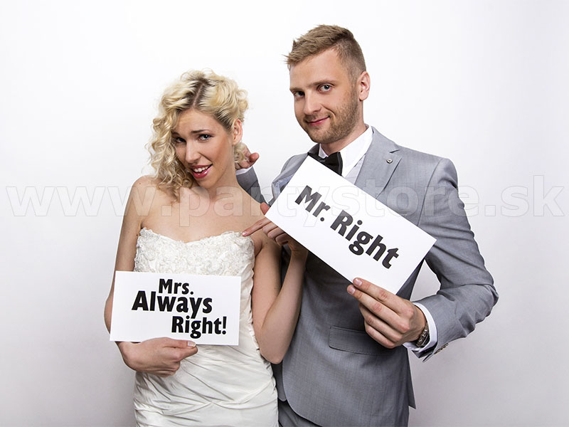 "Rekvizity foto - karty "" Mr. Right "" + "" Mrs. Always Right ! "" 2"