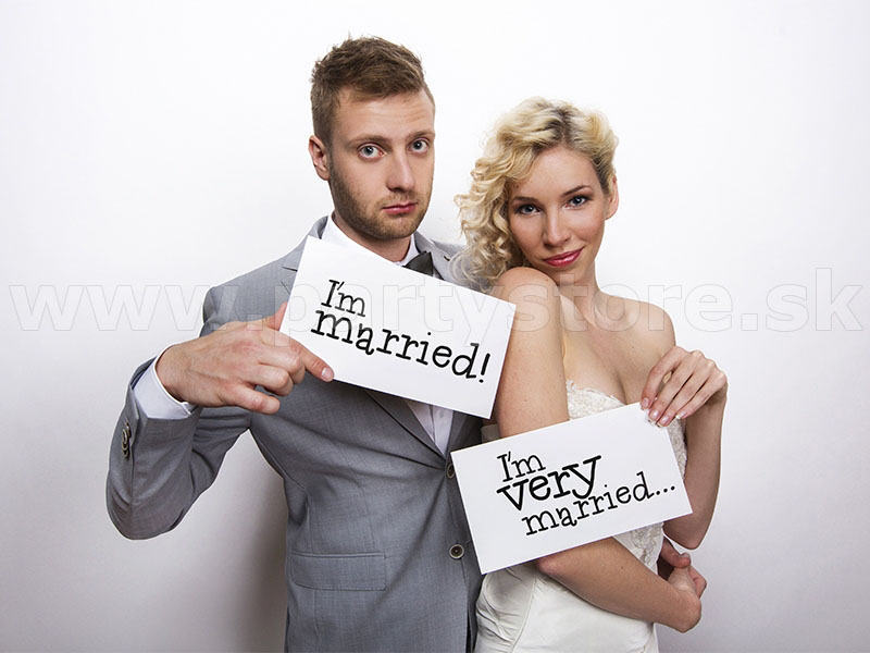 "Rekvizity foto - karty "" ""I'm married + I'm very married"" 2 ks,"